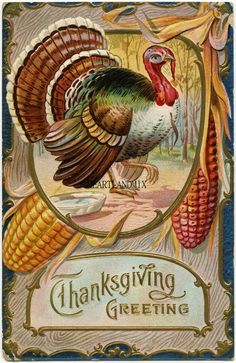 Vintage Thanksgiving Turkey Post Card Wall Art/Cards/Hang Tags/Transfers/Labels/Logos Digital Printable Art Image Instant Download