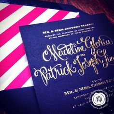 navy pink orange foil wedding invitation | Navy, gold foil and hot pink stripes wedding invitation from Margot ...