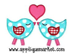Machine Embroidery Design Applique Love Birds by tmmdesigns, $3.00