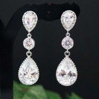 Cubic Zirconia Crystal drop bridal earrings from EarringsNation