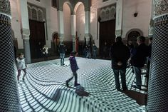 miguel chevalier's digital arabesques adapt to visitors' movements