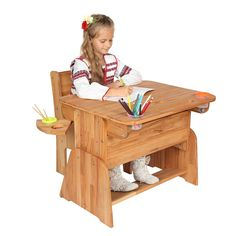 Masa de birou din lemn de fag, Ecodesk  #lemnmasiv #homedecor #kidsfurniture Picnic Table, Toddler Bed, Furniture, Home Decor, Green, Child Bed, Decoration Home, Room Decor, Home Furnishings
