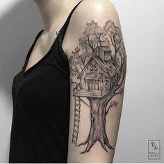 Treehouse by @marla_moon  #whichinkilike #linework #blackwork #blackandwhite #tattoo #tattoogallery #blackwork #blacktattoo #goodtattoos  #bw #tattoos #tat #tatuaje #tattooed #tattooartist #tattooart #tattoolife #tattoodesign #tattooist #best #awesome #ink #art #design #artist #illustration #marla_moon_wiil