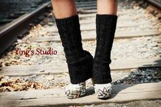 Hand Knit  Leg Warmers - Boot Cuffs - Boot Cover - 100% Wool - Cable Knitted - Black Or CHOOSE YOUR COLOR