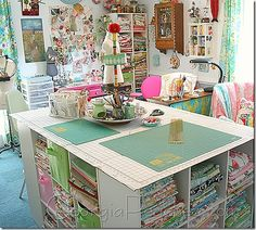 studio, fabric storage, dream, sew room, cube, craft tables, cut tabl, sewing rooms, craft rooms