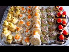 Assortiments de canapés pour l'apéritif réalisés avec du pain de mie. - YouTube Canapes Recipes, Appetizers, Tapas, Brunch Buffet, Chopped Salad, Snacks, Food Design, High Tea, Afternoon Tea