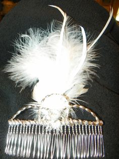Hair Comb of feathers and silver by CathysCreationsPlus on Etsy, $30.00