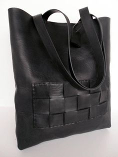 Black Leather Tote Bag Men Market Bag Everyday Bag