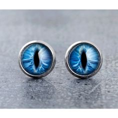 Cat's blue eyes stud earrings, animal eyes stud, small glass ear... ($7) ❤ liked on Polyvore featuring jewelry, earrings, glass earrings, animal jewelry, cat earrings, blue stud earrings and long earrings