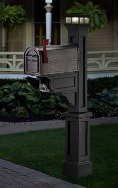 black mailpost with solar light | ... Double Mailbox Post with Newspaper Holders – Black – 5811BK