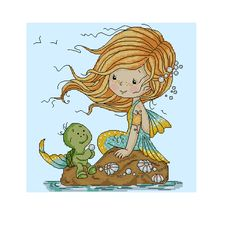 Cross stitch - fairies: Mermaid with a turtle (free patttern with chart)