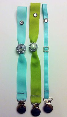 Tiffany Blue Diamond Pacifier Clip  Embellished by SweetSeraphina, $8.50