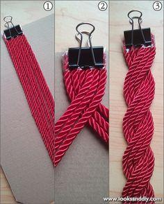 DIY ~ Cinturón con cordón de seda ~ looks and diy