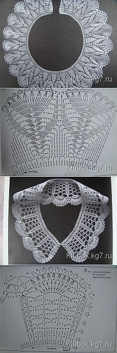 Ideas Crochet Lace Collar Simple For 2019 Crochet Collar Pattern, Col Crochet, Crochet Lace Collar, Gilet Crochet, Crochet Edging Patterns, Crochet Hat For Women, Crochet Lace Edging, Crochet Chart, Crochet Designs