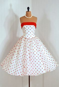 love the red of the straight neckline and the full skirt -- Vintage Fashion red, polka dot, off the shoulder dress