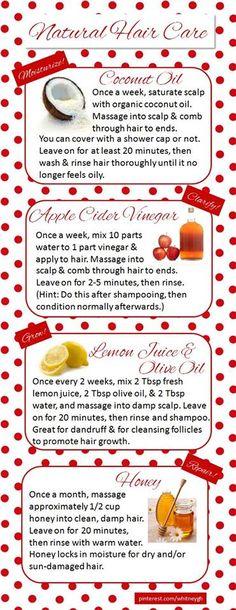Hair regimen-coconut oil, apple cider vinegar, honey, lemon juice, etc....                                                                                                                                                     More