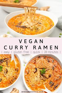 This vegan curry ramen recipe is the best because it's so quick, spicy and so easy to make. In addition, this vegetarian curry ramen noodle is gluten free, made with coconut milk, and perfect for weeknight dinners. This vegan soup is a mix of Thai and Japanese flavors, a great way to combine these delision Asian flavors. Comes together just in 20 minutes and it's made in one pot. A very quick and easy vegan dinner your family will love! #vegan #vegancurry #veganramen #curryramen #vegandinner Easy Asian Recipes, Ramen Recipes, Whole Food Recipes, Asian Noodle Recipes, Dinner Recipes, Healthy Soup Recipes, Veg Recipes, Curry Recipes, Lunch Recipes