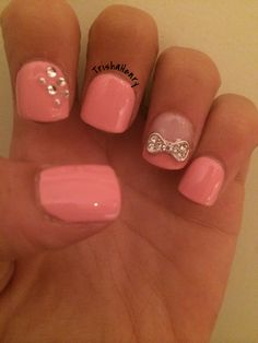 Cute Pink nails with 3d diamond bow