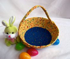 I handmade this lovely Boy Easter Basket,.... Handmade by me.... Keepsake Baby Boy Yellow Easter Bucket, Fun Boy Room Basket,  Easter Decoration, Boy Easter Hunt Basket by WexfordTreasures on Etsy