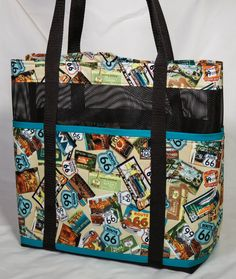 Route 66 Mesh Tote by carriedawaywithjill on Etsy