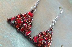 Free Tutorial: Ada Earrings — ScaraBeads US Beaded Earrings, Beaded Bracelets, Buttons Online, Free Pattern Download, Beading Needles, Earring Tutorial, Czech Glass Beads, Seed Beads, Belly Button Rings
