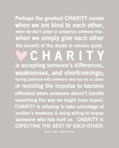charity = unconditional love