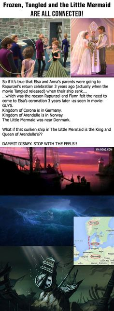 I can see tangled and frozen, but after seeing the boat in frozen, it looks nothing like the sunken boat in the little mermaid. Look close enough and you will see what i see.