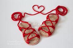 Crochet baby sandals gladiatorbooties shoesbaby by EditaMHANDMADE