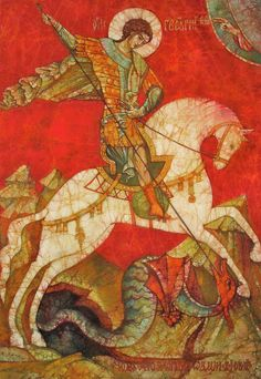 Icon Painting - St George II by Tanya Ilyakhova Byzantine Icons, Byzantine Art, Religious Icons, Religious Art, Dragon Icon, Saint George And The Dragon, Hippie Painting, Medieval Paintings, Alice And Wonderland Quotes