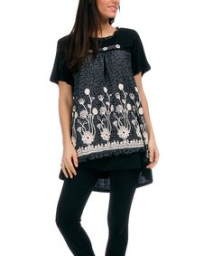 This Black & Off-White Floral Hi-Low Tunic - Women & Plus by Pomme Rouge is perfect! #zulilyfinds