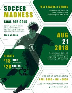 Soccer Madness Flyer Flyer Design Templates, Flyer Template, Sports Graphic Design, Commercial Printing, Flyer Design Inspiration, E Sport, Club Flyers, Sports Flyer, Corporate Flyer