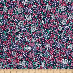 Michael Miller Swan Lake Bitty Floral Midnight from @fabricdotcom  Designed for Michael Miller, this cotton print fabric is perfect for quilting, apparel, and home decor accents. Colors include shades of pink, purple, green, white, and black.
