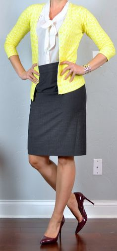 Outfit Posts: outfit post: yellow cardigan, tie-neck blouse, grey pencil skirt, burgundy pumps