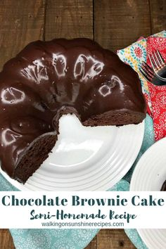 Chocolate Brownie Cake is one of the most decadent, rich chocolate desserts you will ever make AND it starts out with two boxed cake mixes from Walking on Sunshine Recipes. Desserts Chocolate Brownie Cake w/Homemade Chocolate Glaze Vegetarian Chocolate Cake, Chocolate Brownie Cake, Chocolate Glaze, Chocolate Chip Cookie Dough, Fudge Brownies, Chocolate Desserts, Delicious Chocolate, Chocolate Cake Recipe From Box, Chocolate Buttercream