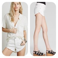 Free People High Rise Jean Shorts White 30 NWT Free People 'Irreplaceable' jeans shorts in 'Polar White' size 30. New with partial tag.  no trades or low ball offers  Free People Shorts Jean Shorts