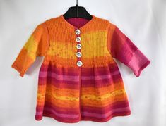 Strickjacken - Langärmelige, gestrickte Babyjacke in gelb-pink - ein Designerstück von Idee-Kreativ bei DaWanda Unisex, Knit Crochet, Baby, Knitting, Tops, Sweaters, Pink, Fashion, Sacks