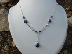 Collier argent 925 cabochons lapis lazuli tailles ronde et poire. Boutique francis-creations sur alittlemarket