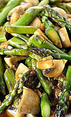 Asparagus & Mushroom Stir-Fry Easy asparagus and mushroom stir-fry with a tasty, simple garlic sauce! Beautiful side dish for Asian-inspired meals. - Asparagus and Mushroom Stir-Fry Recipe recipes for two recipes fry recipes Tofu Stir Fry, Broccoli Stir Fry, Veggie Stir Fry, Garlic Broccoli, Asparagus And Mushrooms, Asparagus Fries, Stuffed Mushrooms, Asparagus Dishes, Garlic Chicken Stir Fry