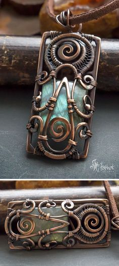 Square copper wire wrapped pagan pendant with green labradorite gemstone