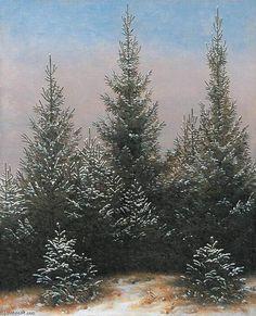 'Fir Trees in the Snow', Oil On Canvas by Caspar David Friedrich (1774-1840, Germany)