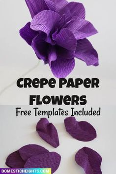 free template and tutorial for different crepe paper flower techniques Diy Home Crafts, Handmade Crafts, Crafts For Kids, Rolled Paper Flowers, How To Make Crepe, Paper Peonies, Paper Flower Tutorial, Abstract Sculpture, Flower Petals