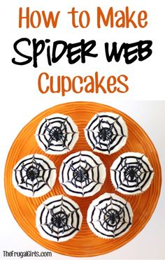 How to Make Spider Web Cupcakes! ~ from TheFrugalGirls.com - the perfect cupcake for Fall! #spiders #thefrugalgirls