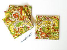 Ceramic tile decorative coasters, Art Nouveau Pattern, set of 4