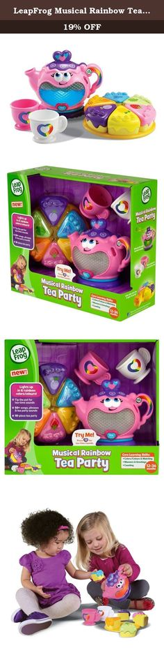 "LeapFrog Musical Rainbow Tea Set. Kids will love learning with the Musical Rainbow Tea Party! The lovable light-up teapot bubbles with personality while percolating ""tea,"" and teaches kids about colors, matching, manners and counting, too! Kids will love matching and building motor skills as they play. Host a special tea time for two to learn lessons in sharing. And, best of all, the Musical Rainbow Tea Party features 50+ songs, phrases and tea party sounds! Age 1-3 years Features Musical..."