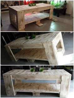 Table Basse Palettes / Pallets Coffee Table #CoffeeTable, #PalletFurniture, #RecycledPallet