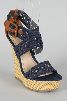 Bamboo Pompey-39 Denim Woven Criss Cross Open Toe Wedge $30.40