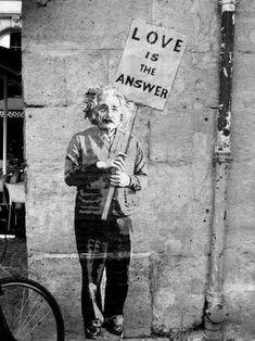 Banksy Street Art - Einstein Love Is The Answer Poster Print Wall Graffiti Art Decor Street Art Banksy, Banksy Art, Bansky, Street Art Quotes, Grafitti Street, Urbane Kunst, Amazing Street Art, Amazing Art, Street Art Love