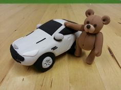 Aston Martin and teddy bear birthday present. Alk made with jumping clay, the world's best air drying modelling clay :)