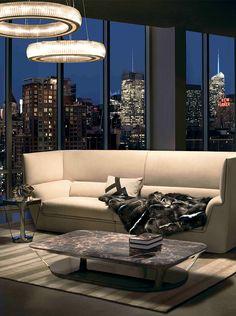 Fendi Casa Contemporary - Cocoon sofa, Pierre coffee table and Rhea and Janus suspensions www.luxurylivinggroup.com #Fendi #LuxuryLivingGroup