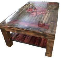 Rustic, colonial coffee table Canada wood stain ecopoxy liquid glass maple leaf Coffee Table Canada, Wood Stain, Leaf Table, Wood Working, Colonial, Rustic, Glass, Diy, Furniture